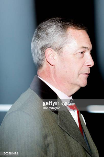 Nigel Farage backstage moments before talking to the assembled crowd in Parliament Square at the Leave Means Leave Brexit Celebration on January 31,...