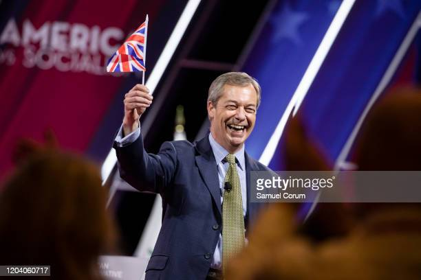 Nigel Farage, British politician and leader of the Brexit Party, speaks at the Conservative Political Action Conference 2020 hosted by the American...