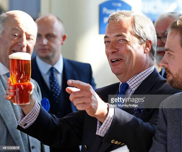Nigel Farage drinks a beer as he attends the Autumn Racing CAMRA Beer Festival meet at Ascot Racecourse on October 2 2015 in Ascot England