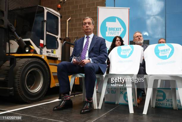 Nigel Farage during the launch of the Brexit Party at BG Penny Co on April 12 2019 in Coventry England Former UKIP leader Nigel Farage has launched...