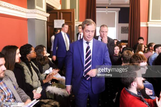 Nigel Farage former leader of the UK Independence Party arrives to speak at Trinity College Dublinin Dublin Ireland on Friday Feb 2 2018 Farage is...