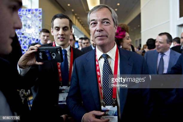 Nigel Farage former leader of the UK Independence Party attends the Conservative Political Action Conference in National Harbor Maryland US on...