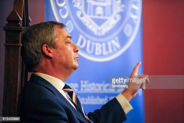 Nigel Farage former leader of the UK Independence Party gestures as he speaks at Trinity College Dublinin Dublin Ireland on Friday Feb 2 2018 Farage...