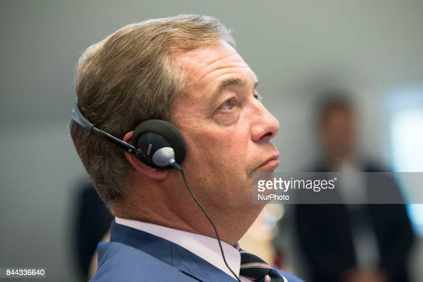 Nigel Farage is pictured during an event organized from the Alternative for Germany at the Citadel Spadau in Berlin Germany on September 8 2017