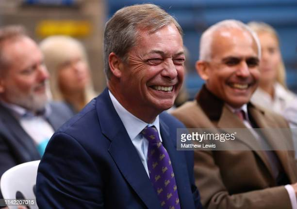 Nigel Farage laughs during the launch of the Brexit Party at BG Penny Co on April 12 2019 in Coventry England Former UKIP leader Nigel Farage has...