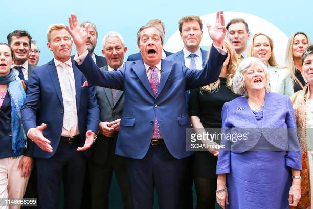 Nigel Farage leader of the Brexit Party and a Member of the European Parliament for South East England is seen speaking during the EU election...