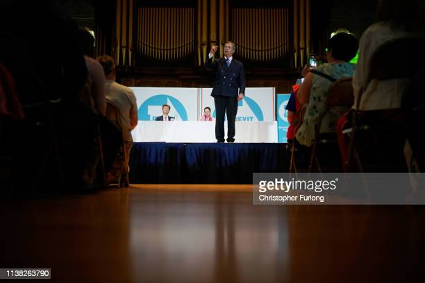 Nigel Farage leader of the Brexit Party speaks at the Brexit Party rally at the Albert Hall conference centre on April 20 2019 in Nottingham England...