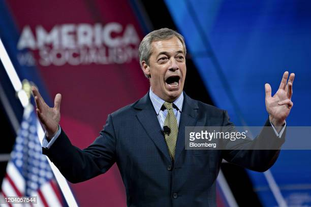 Nigel Farage, leader of the Brexit Party, speaks during the Conservative Political Action Conference in National Harbor, Maryland, U.S., on Friday,...