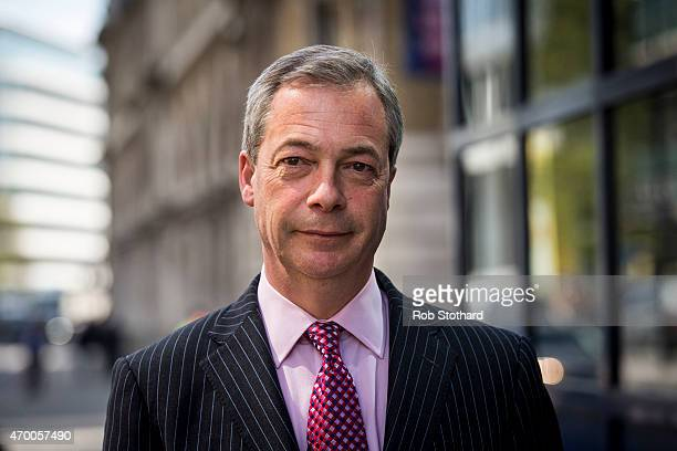 Nigel Farage leader of the UK Independence Party leaves The Northern Shell Building on April 17 2015 in London England Richard Desmond owner of...
