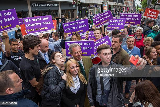 Nigel Farage leader of the UK Independence Party meets supporters in Bexleyheath on June 14 2016 in London England Mr Farage is campaigning for the...