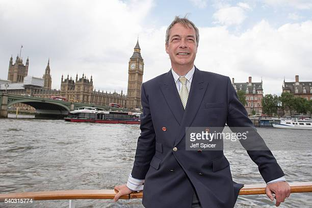 Nigel Farage leader of the UK Independence Party shows his support for the 'Leave' campaign for the upcoming EU Referendum aboard a boat on the River...