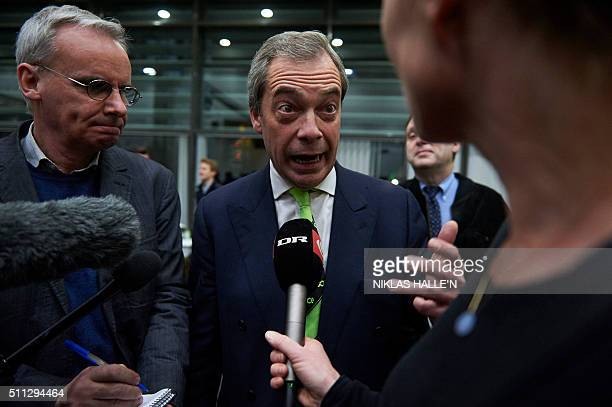 Nigel Farage leader of the UK independence Party speaks to the press before a public meeting by proBrexit campaigners central London on February 19...