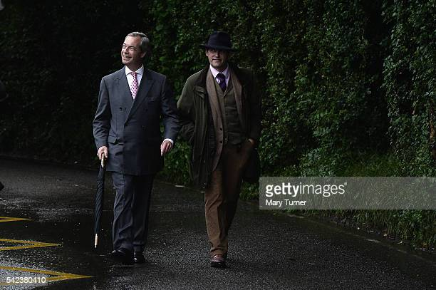 Nigel Farage leader of UKIP and Vote Leave campaigner arrives to register his vote in the UK's EU referendum at his local polling station Cudham...