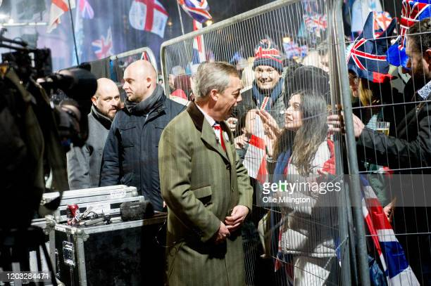Nigel Farage meets fans after talking to the assembled crowd in Parliament Square at the Leave Means Leave Brexit Celebration on January 31, 2020 in...