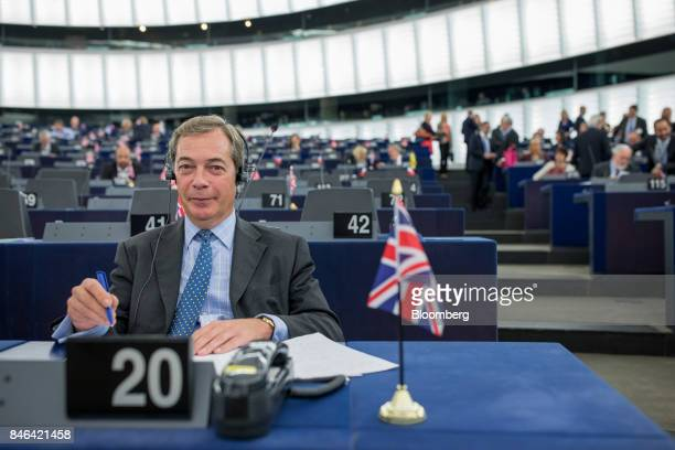 Nigel Farage member of European Parliament and former leader of the UK Independence Party attends the State of the Union speech at the European...