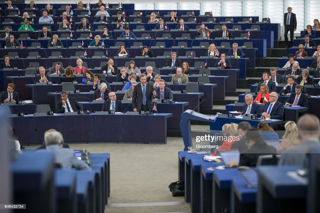 Nigel Farage, member of European Parliament and former leader of the U.K. Independence Party (UKIP), speaks during the State of the Union address at the European Parliament in Strasbourg, France, on Wednesday, Sept. 13, 2017. In a sign of the EUs renewed confidence, European Commission President Jean-Claude Juncker will push for free-trade pacts withAustralia and New Zealandat a time when the U.S. is turning inward, along with a bloc-wide system for screening foreign takeovers and deeper euro-area banking integration. Photographer: Jasper Juinen/Bloomberg via Getty Images