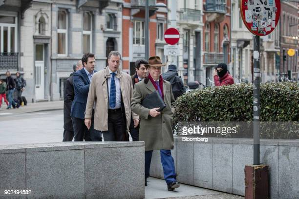 Nigel Farage member of European Parliament and former leader of the UK Independence Party center arrives for a meeting with EU Chief Negotiator...