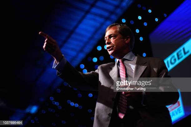 Nigel Farage MEP and Vice Chairman of the proBrexit Leave Means Leave organisation gives a speech while attending a Leave Means Leave rally held at...