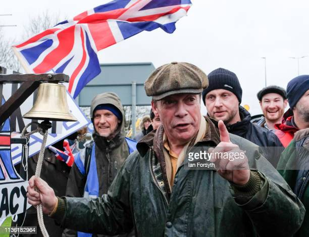 Nigel Farage reacts as he arrives at the end of the first leg of the March to Leave campaign on March 16 2019 in Hartlepool England The first leg...