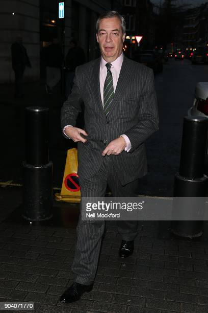 Nigel Farage seen at BBC Studios on January 12 2018 in London England