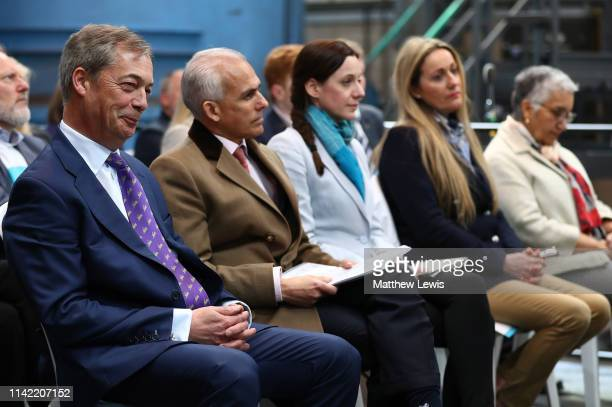 Nigel Farage sits with Ben Habib Annunziata ReesMogg June Mummery and Dr Alka Sehgal Cuthburt during the launch of the Brexit Party at BG Penny Co on...
