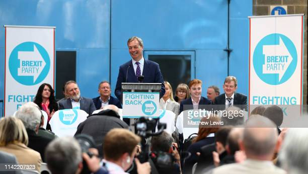 Nigel Farage speaks at the launch of the Brexit Party at BG Penny Co on April 12 2019 in Coventry England Former UKIP leader Nigel Farage has...