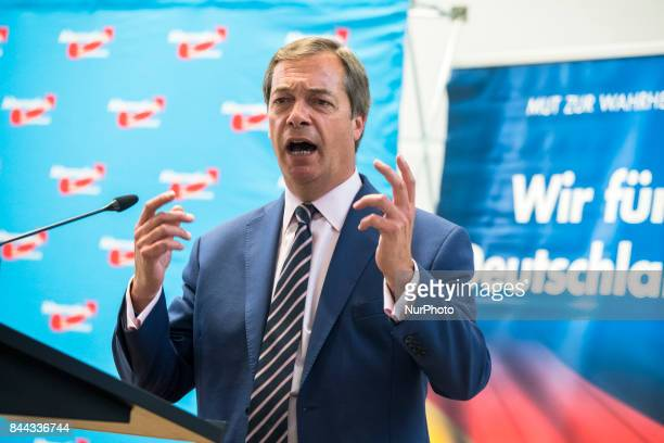 Nigel Farage speaks during an event organized from the Alternative for Germany at the Citadel Spadau in Berlin Germany on September 8 2017