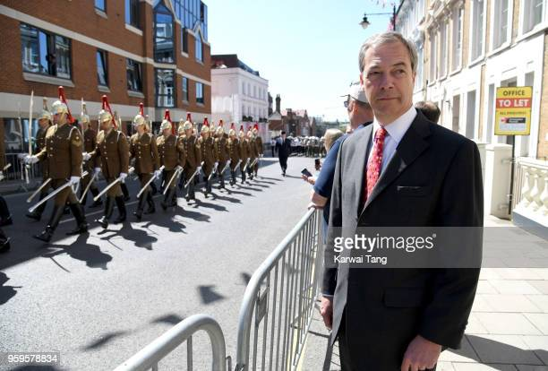 Nigel Farage watches the Royal Wedding carriage procession rehearsal on May 17 2018 in Windsor England Preparations continue in the town for the...