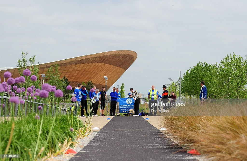 Nigel Feakes of Shoreditch Golf Club hits his tee shot on the 7th hole during the UK Cross Golf Open at Queen Elizabeth Olympic Park on May 15, 2015 in London, England.