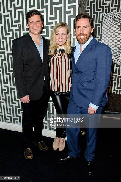 Nigel Harman Ashley Jensen and Rob Brydon attends an after party celebrating the press night performance of 'A Chorus of Disapproval' at Grace on...