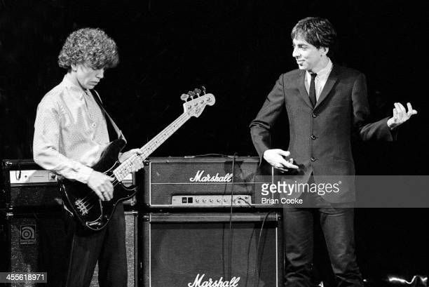 Nigel Harrison and Chris Stein of Blondie photographed at Blanford Studios in Marylebone London on 8th March 1978 during the makingof a pop promo for...