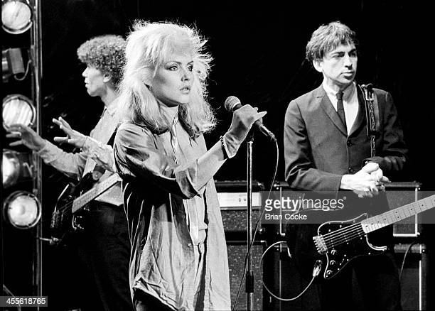 Nigel Harrison Debbie Harry and Chris Stein of Blondie photographed at Blanford Studios in Marylebone London on 8th March 1978 during the makingof a...