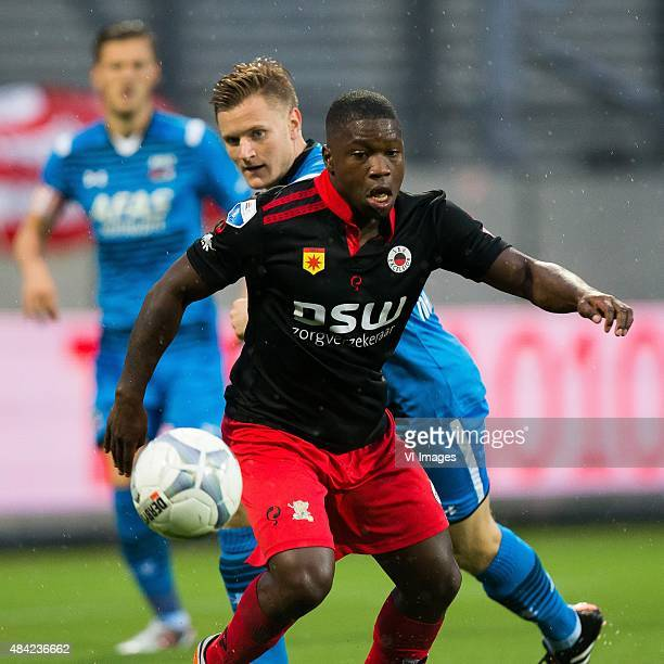 Nigel Hasselbaink of Excelsior, Mattias Johansson of AZ during the Dutch Eredivisie match between Excelsior Rotterdam and AZ Alkmaar at Woudenstein...