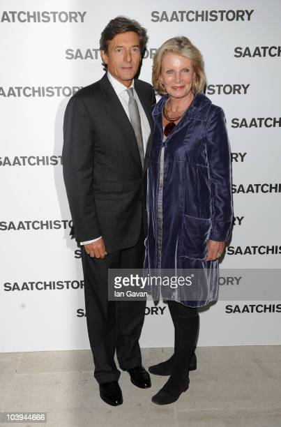 Nigel Havers and Georgiana Bronfman attends the Saachi and Saachi Party to celebrate 40 years of Saachi at the Saachi Gallery on September 9 2010 in...
