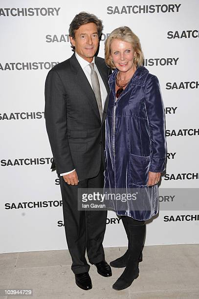 Nigel Havers and Georgiana Bronfman attends the Saachi and Saachi Party to celebrate 40 years of Saachi at the Saachi Gallery on September 9, 2010 in...
