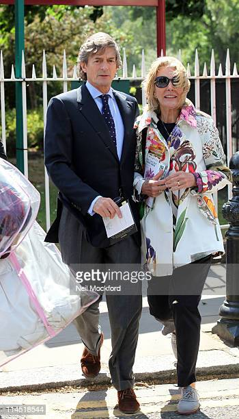 Nigel Havers and Georgiana Bronfman sighted leaving The Chelsea Flower Show at The Royal Hospital on May 23 2011 in London England