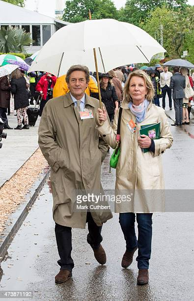 Nigel Havers and Georgiana Bronfman visit the annual Chelsea Flower show at Royal Hospital Chelsea on May 18 2015 in London England