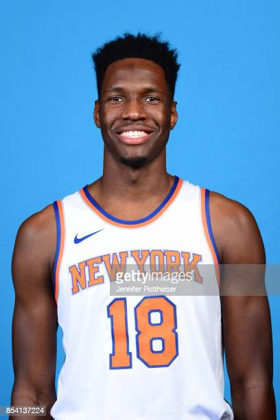 Nigel Hayes of the New York Knicks poses for a portrait during 2017 Media Day on September 25 2017 at the New York Knicks Practice Facility in...