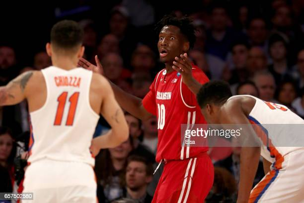 Nigel Hayes of the Wisconsin Badgers reacts in the first half against the Florida Gators during the 2017 NCAA Men's Basketball Tournament East...