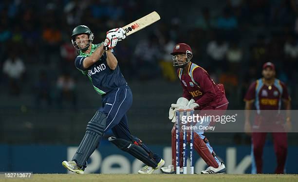 Nigel Jones of Ireland bats during the ICC World Twenty20 2012 Group B match between the West Indies and Ireland at R Premadasa Stadium on September...
