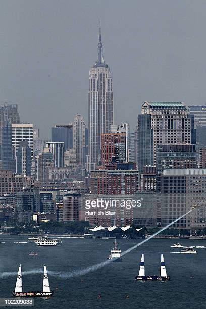 Nigel Lamb of Great Britain flies over the Hudson River during the Red Bull Air Race New York Training Day on June 18 2010 in New Jersey