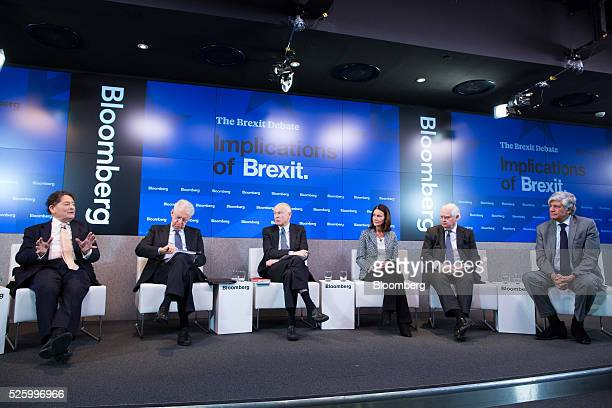 Nigel Lawson former UK chancellor of the exchequer gestures as left to right Mario Monti former Italian prime minister Jon Moulton founder and...