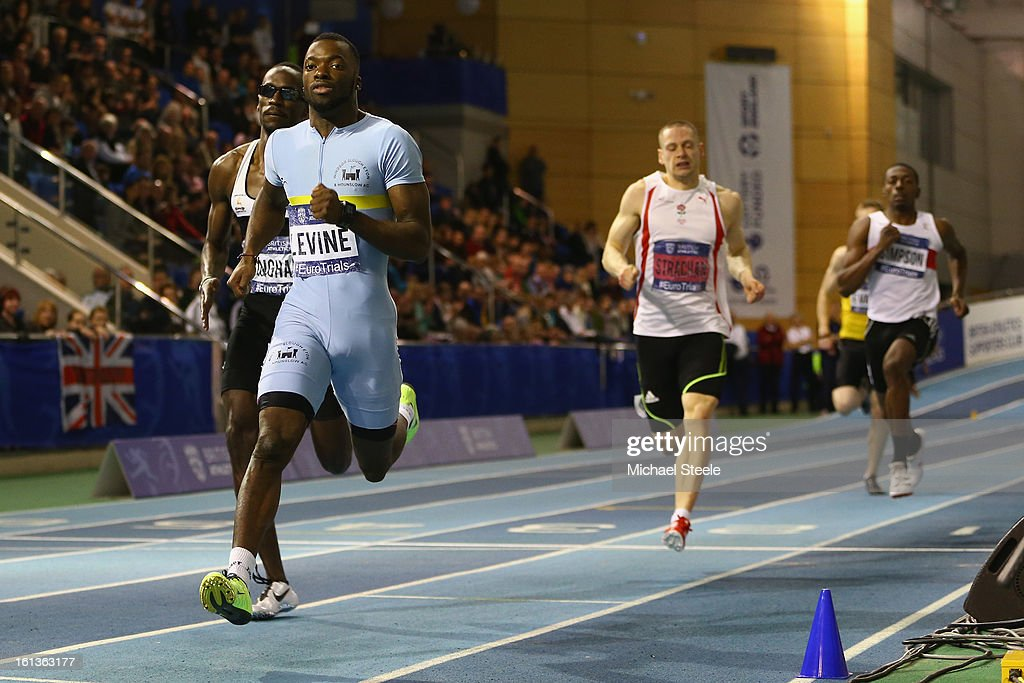 Nigel Levine (L) wins the men's 400m final during day two of the British Athletics European Trials & UK Championship at the English Institute of Sport on February 10, 2013 in Sheffield, England.