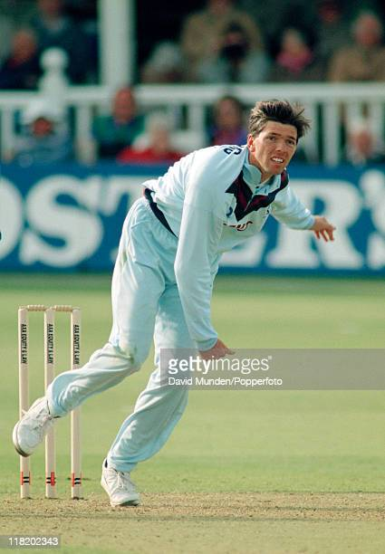 Nigel Llong bowling for Kent during their AXA Equity Law League match against Warwickshire at Canterbury 16th May 1993 Kent won by 66 runs