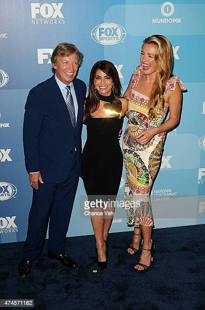 Nigel Lythgoe Paula Abdul and Cat Deeley attend 2015 FOX Programming Presentation at Wollman Rink Central Park on May 11 2015 in New York City