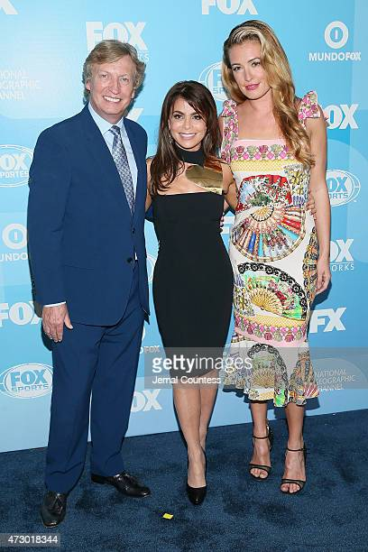 Nigel Lythgoe Paula Abdul and Cat Deeley attend the 2015 FOX programming presentation at Wollman Rink in Central Park on May 11 2015 in New York City
