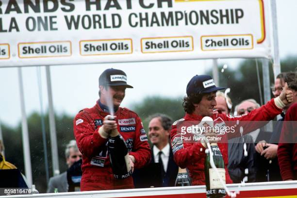 Nigel Mansell Alain Prost McLarenTAG MP4/2B Grand Prix of Europe Brands Hatch October 6 1985 A day to remember in Brands Hatch for the 1985 European...
