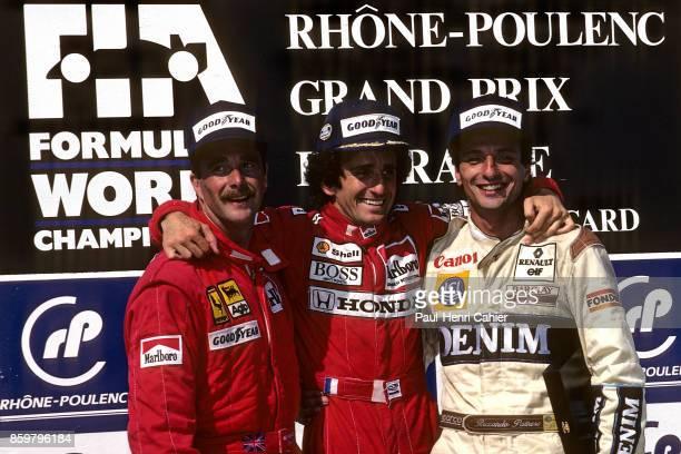 Nigel Mansell, Alain Prost, Ricardo Patrese, Grand Prix of France, Circuit Paul Ricard, July 9, 1989.