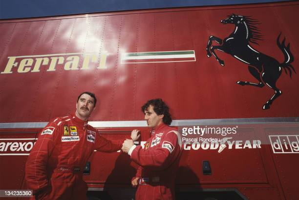 Nigel Mansell and Alain Prost drivers of the Scuderia Ferrari SpA Ferrari F190 during pre season testing on 1st February 1990 at the Autodromo do...