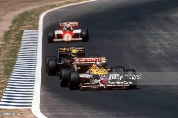 Nigel Mansell Ayrton Senna Alain Prost WilliamsHonda FW11 LotusRenault 98T McLaren MP4/2C Grand Prix of Spain Circuito de Jerez 13 April 1986